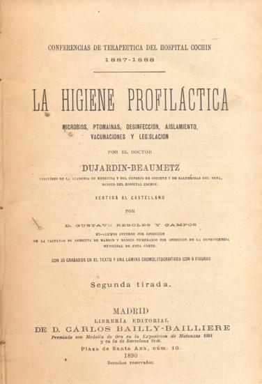 Conferencias de terap utica del hospital cochin 1887 1888 for Dujardin cestas